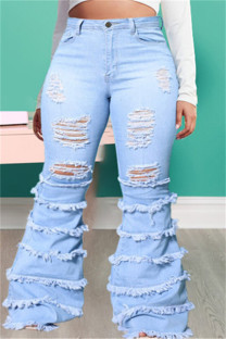 Baby Blue Fashion Casual Solid Ripped Plus Size Jeans
