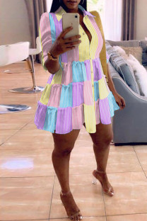 Pink Yellow Fashion Casual Striped Print Split Joint Turndown Collar Long Sleeve Shirt Dresses