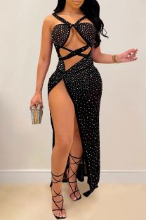 Black Sexy Hot Drilling Hollowed Out Backless Slit V Neck Sling Dress Dresses
