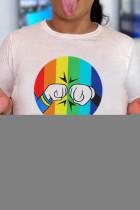White Casual Print Split Joint V Neck T-Shirts