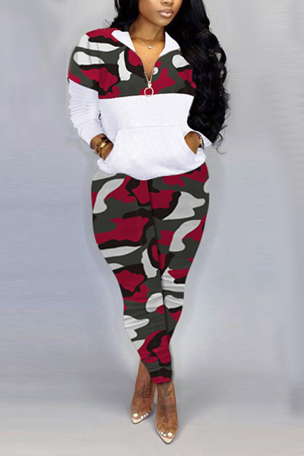 Red Fashion Casual Zipper Collar Long Sleeve Regular Sleeve Patchwork Camouflage Print Plus Size Set