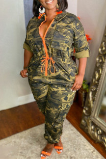 Army Green Fashion Casual Camouflage Print Split Joint Zipper Collar Plus Size Jumpsuits