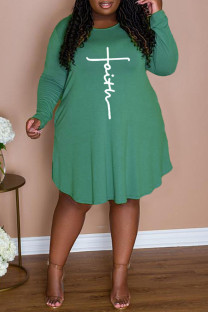 Green Casual Print Split Joint O Neck A Line Plus Size Dresses