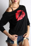 Black White Casual Lips Printed Basic Oblique Collar Plus Size Tops