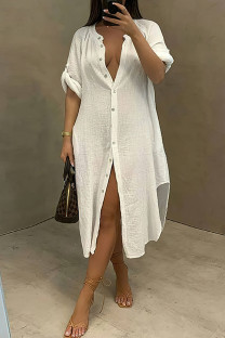 White Fashion Casual Solid Split Joint Turndown Collar Long Sleeve Dresses