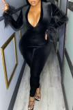 Black Sexy Solid Split Joint Feathers V Neck Regular Jumpsuits