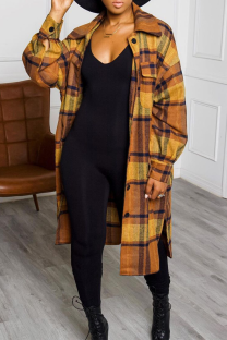 Yellow Casual Plaid Split Joint Turndown Collar Outerwear