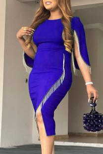 Blue Fashion Casual Patchwork Tassel O Neck Irregular Dress