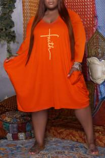 Orange Casual Print Split Joint U Neck Long Sleeve Plus Size Dresses