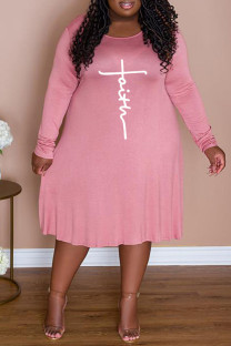 Pink Casual Print Split Joint O Neck A Line Plus Size Dresses