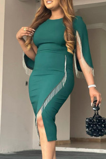 Green Fashion Casual Patchwork Tassel O Neck Irregular Dress