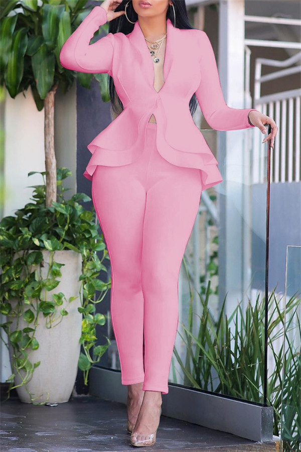Pink Fashion Casual Solid Split Joint Flounce Turndown Collar Long Sleeve Two Pieces