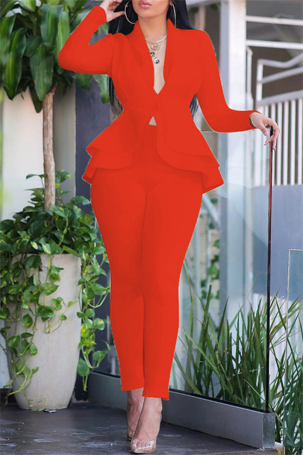 Orange Fashion Casual Solid Split Joint Flounce Turndown Collar Long Sleeve Two Pieces