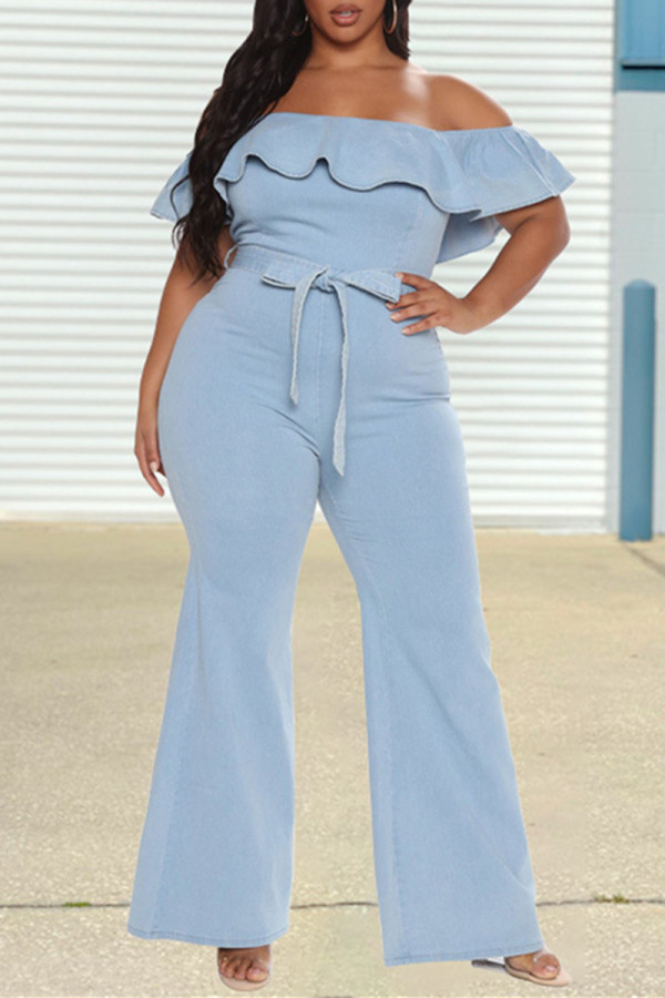 Light Blue Fashion Casual Solid Backless Off the Shoulder Plus Size Jumpsuits