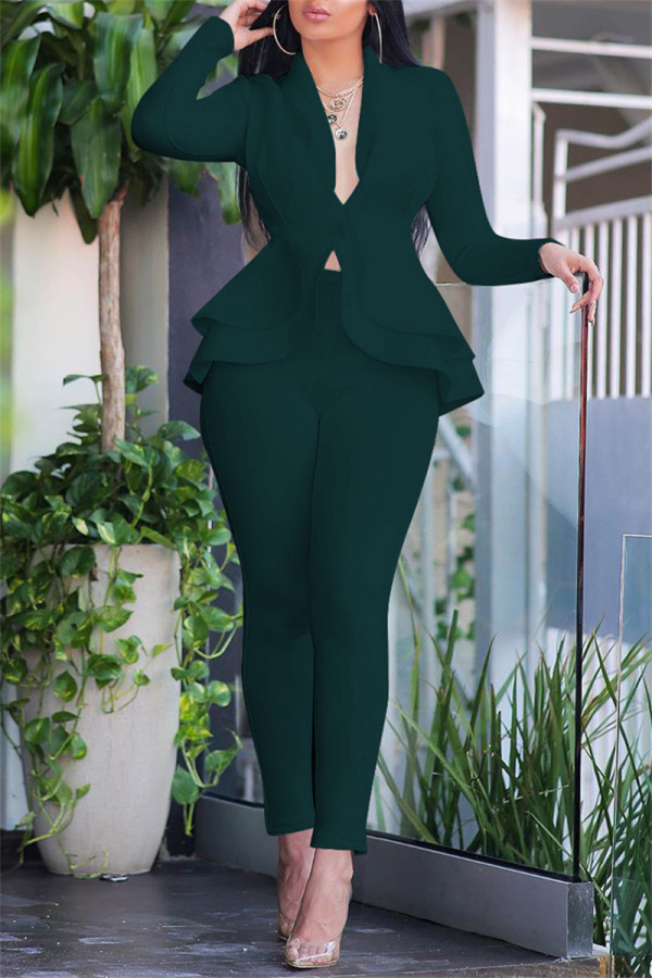 Ink Green Fashion Casual Solid Split Joint Flounce Turndown Collar Long Sleeve Two Pieces