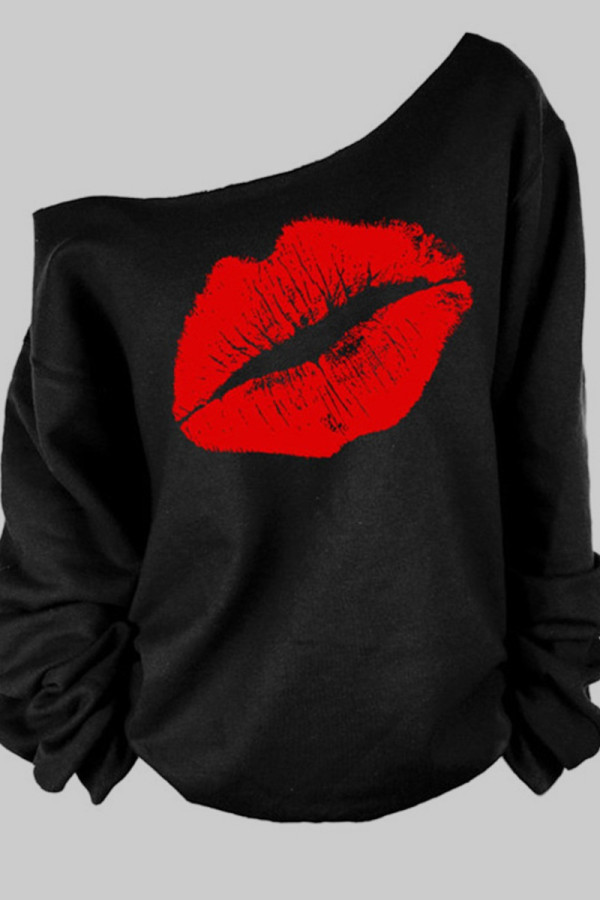 Black and red Casual Lips Printed Basic Oblique Collar Plus Size Tops