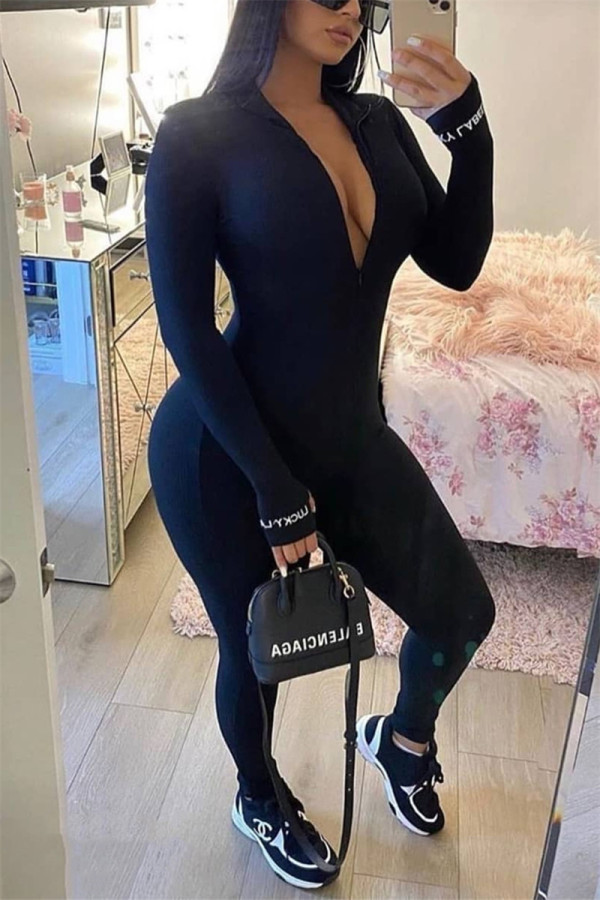 Black Fashion Sexy Zipper Collar Long Sleeve Regular Sleeve Skinny Letter Embroidery Jumpsuits