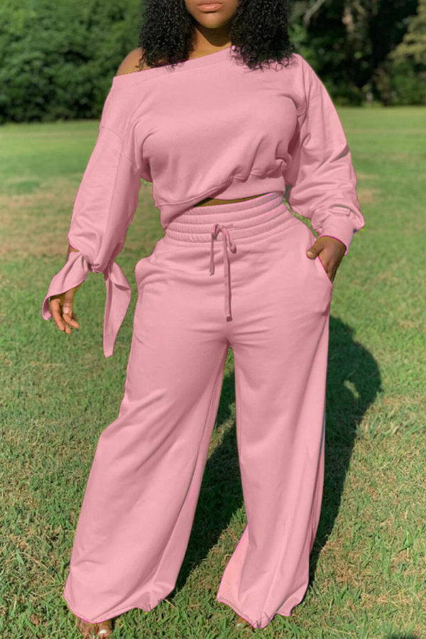 Pink Fashion Casual Long Sleeve Oblique Collar Regular Sleeve Short Solid Two Pieces