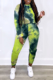 Green Casual Print Tie Dye Split Joint O Neck Plus Size Two Pieces