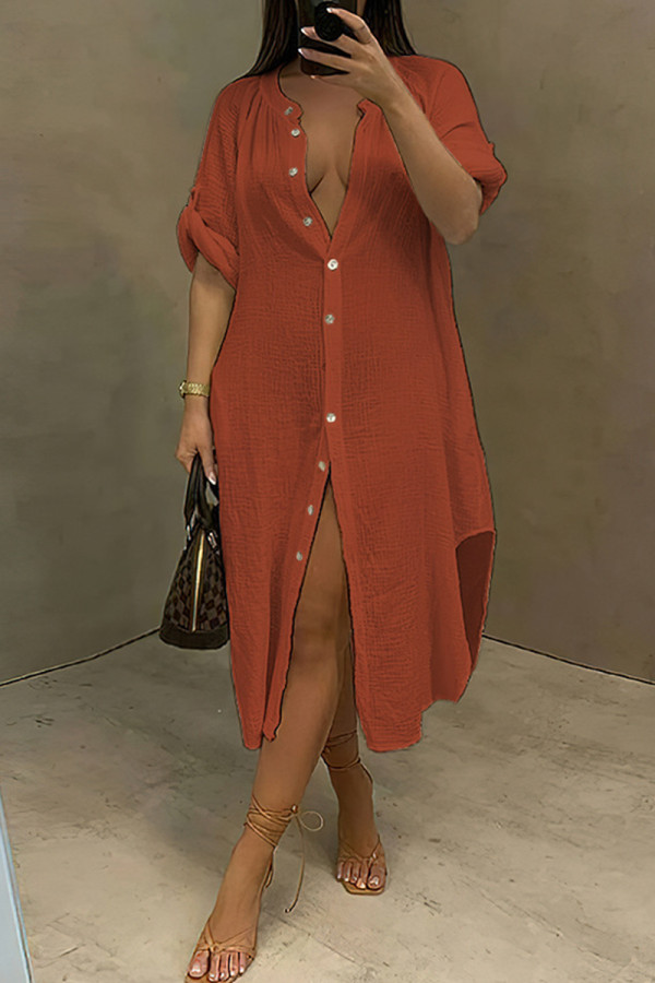 Orange Fashion Casual Solid Split Joint Turndown Collar Long Sleeve Dresses
