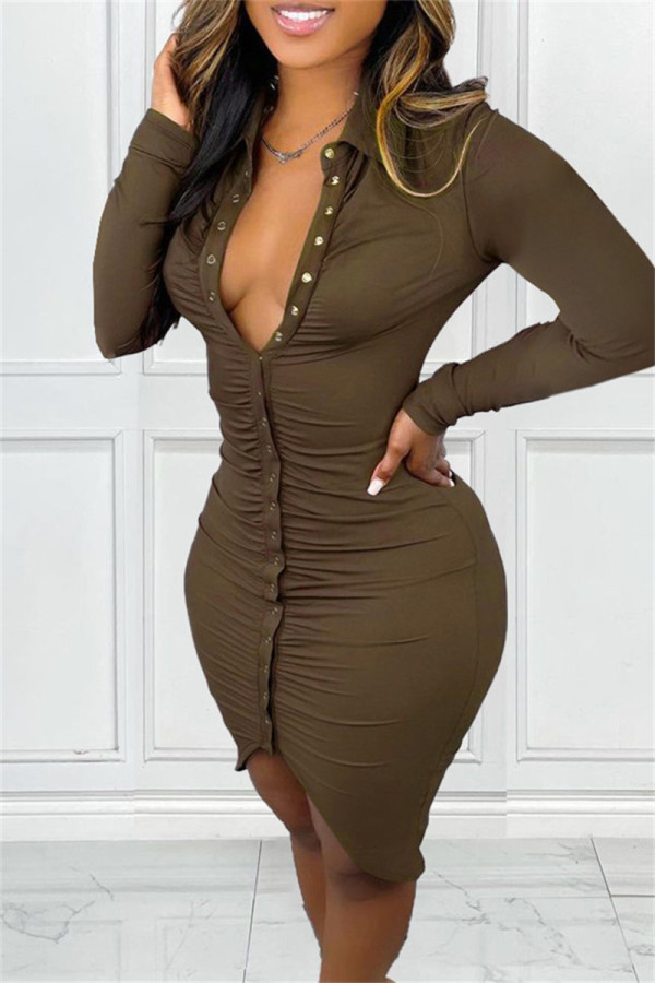 Brown Fashion Casual Solid Fold Turndown Collar Long Sleeve Dresses