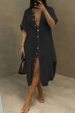 Black Fashion Casual Solid Split Joint Turndown Collar Long Sleeve Dresses