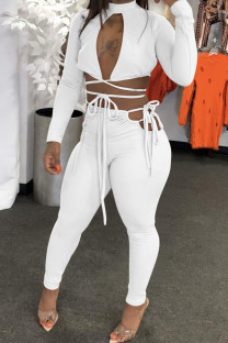 White Sexy Casual Solid Bandage Hollowed Out Half A Turtleneck Long Sleeve Two Pieces