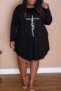 Black Casual Print Split Joint O Neck A Line Plus Size Dresses