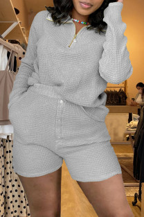Grey Fashion Casual Solid Split Joint Turndown Collar Long Sleeve Two Pieces