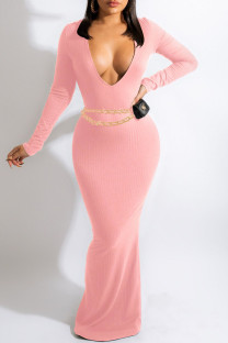 Pink Sexy Solid Split Joint V Neck One Step Skirt Dresses(Without Belt)