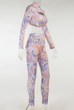 Purple Fashion Casual Print Hollowed Out Turtleneck Long Sleeve Two Pieces