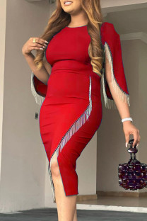 Red Fashion Casual Patchwork Tassel O Neck Irregular Dress