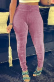 Grey Fashion Casual Solid Skinny High Waist Pencil Trousers