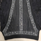 Black Sexy Solid Tassel Split Joint See-through Asymmetrical Hot Drill Half A Turtleneck Long Sleeve Two Pieces