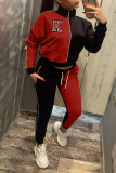 Rose Red Casual Print Split Joint Zipper Zipper Collar Long Sleeve Two Pieces