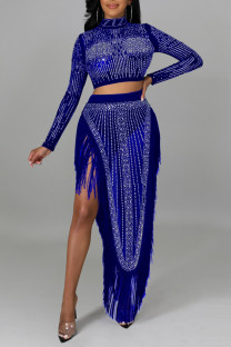 Blue Sexy Solid Tassel Split Joint See-through Asymmetrical Hot Drill Half A Turtleneck Long Sleeve Two Pieces