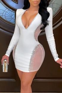 White Sexy Solid Split Joint Hot Drill V Neck One Step Skirt Dresses