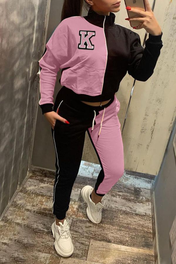 Pink Casual Print Split Joint Zipper Zipper Collar Long Sleeve Two Pieces