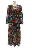 Multicolor Fashion Casual Print Bandage V Neck Long Sleeve Dresses