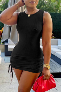 Black Sexy Casual Solid Bandage O Neck Vest Dress