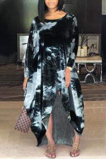Black Casual Print Tie Dye Split Joint Asymmetrical O Neck Irregular Dress Dresses