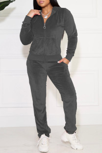 Dark Gray Casual Solid Pocket Hooded Collar Long Sleeve Two Pieces