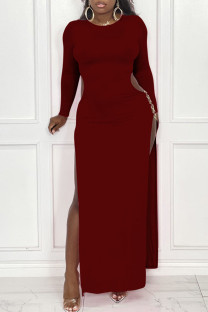 Burgundy Sexy Solid Hollowed Out Split Joint Metal Accessories Decoration Slit O Neck Straight Dresses
