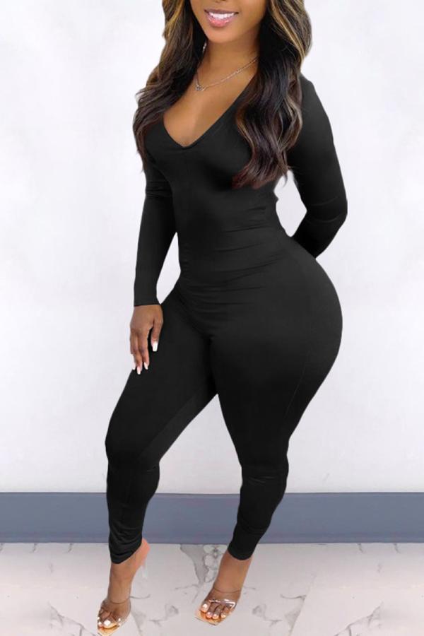Black Sexy Solid Backless V Neck Skinny Jumpsuits