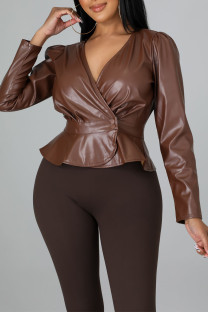 Brown Casual Solid Split Joint Buttons Fold V Neck Outerwear