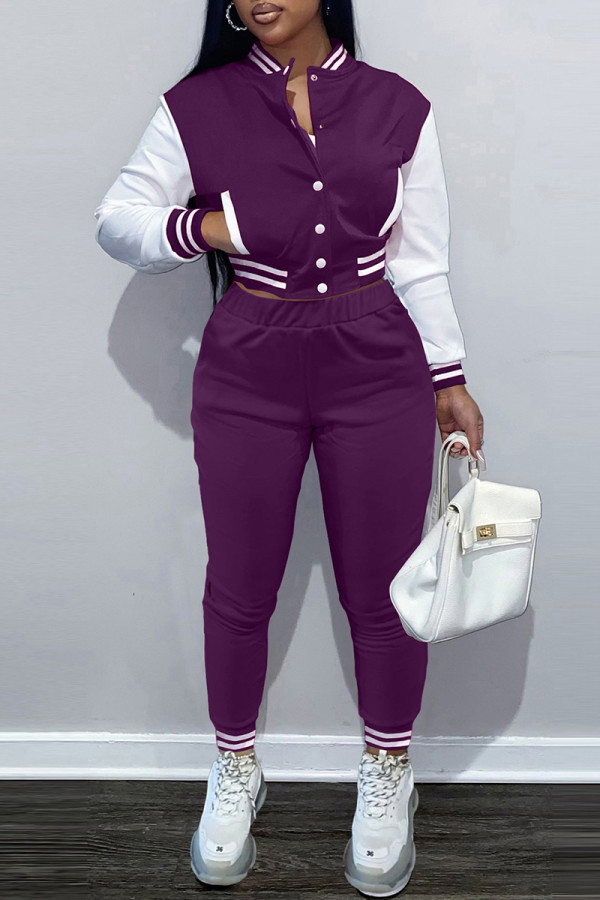 Purple Fashion Casual Patchwork Cardigan Pants Long Sleeve Two Pieces