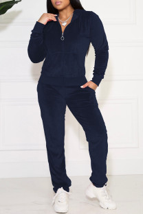 Navy Blue Casual Solid Pocket Hooded Collar Long Sleeve Two Pieces