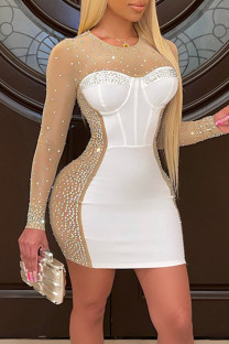 White Sexy Solid Split Joint See-through Hot Drill O Neck One Step Skirt Dresses
