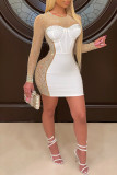 Black Sexy Solid Split Joint See-through Hot Drill O Neck One Step Skirt Dresses