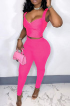 Pink Sexy Casual Solid Backless V Neck Sleeveless Two Pieces